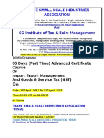 05 Days (Part Time) Advanced Certificate Course  On Import Export Management And Goods & Service Tax (GST)