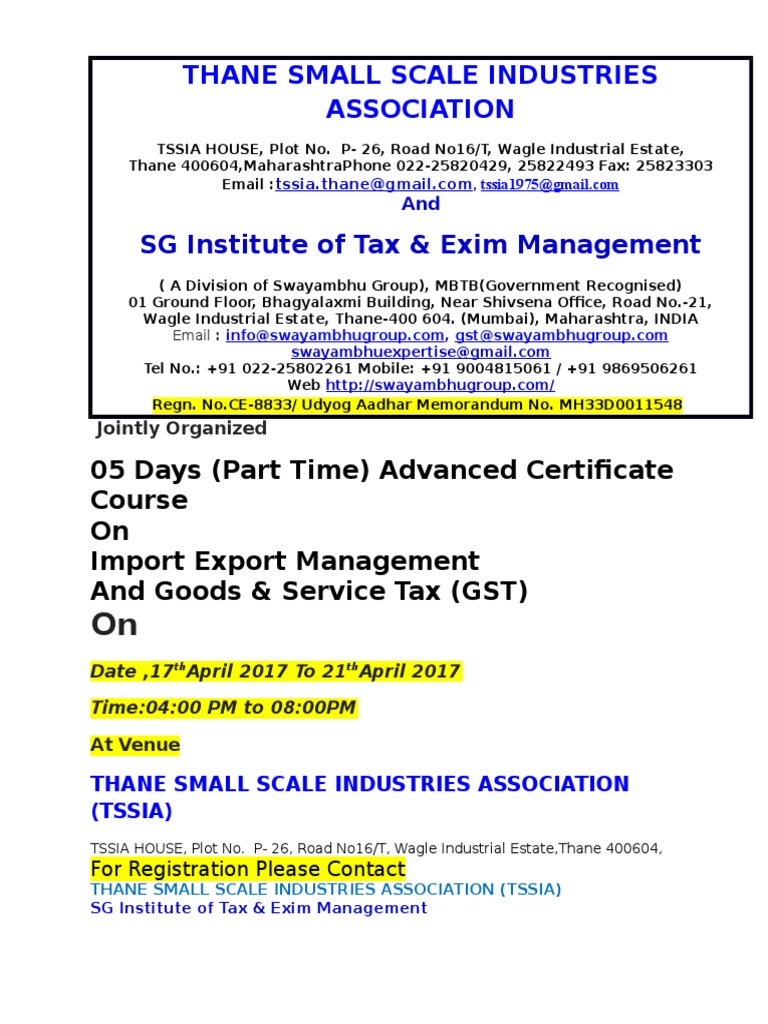 05 Days Part Time Advanced Certificate Course On Import Export