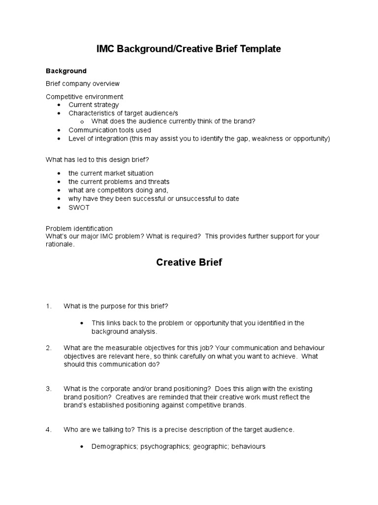 Assess 1 IMC Background And Creative Brief Template