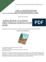 """Análisis Del Texto """"a La Deriva"""" _ Metodología de La Investigación"""