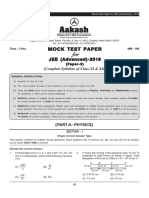 Mock Test JEE Advanced 2016 Code-B Paper-2