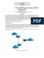 Comparison of VoIP on IPV4 only network and IPV6 only network
