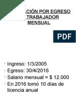 Liquidación Por Egreso Del Mensual (2016)
