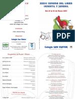Díptico XXXIII Semana del Libro Colegio San Viator