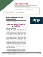 Resumen Warma Kuyay de Jose Maria Arguedas