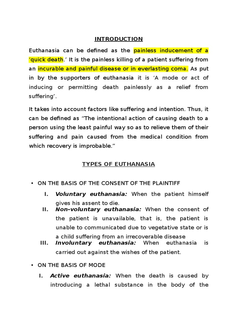 factors of euthanasia