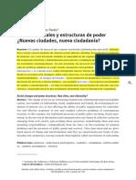 Cambios Sociales y Estructuras de Poder (Nuevas Ciudades, Nueva Ciudadanía)