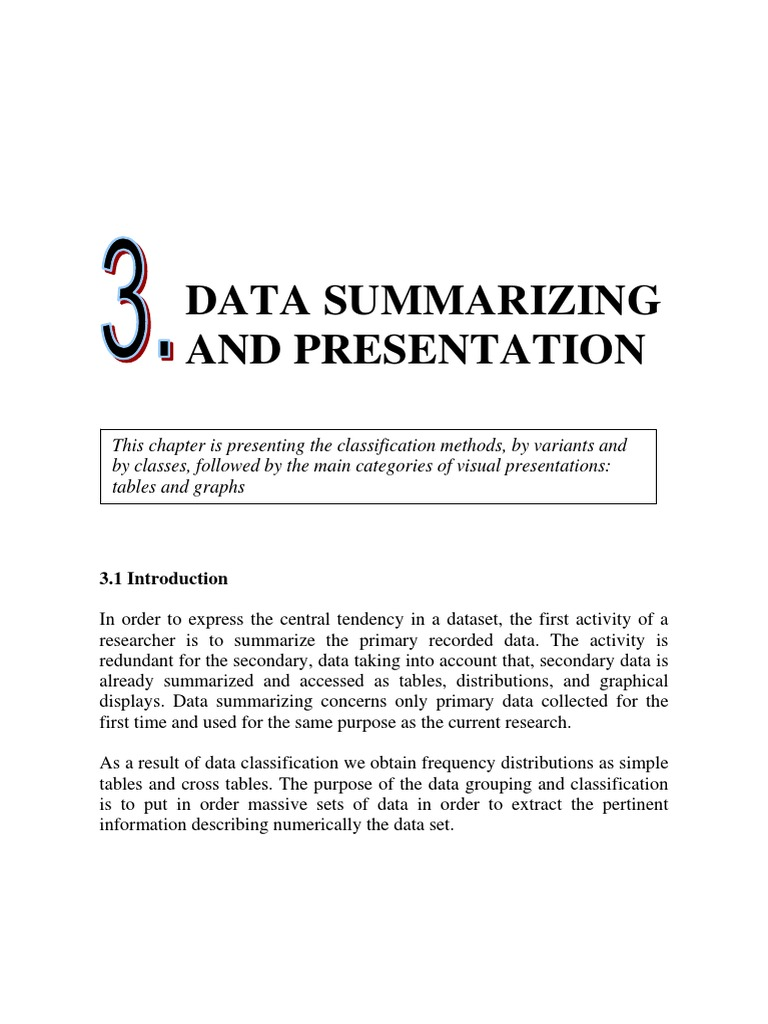 presentation of data in statistics pdf