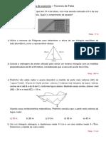 Lista de Exercício - Teorema de Pitágoras