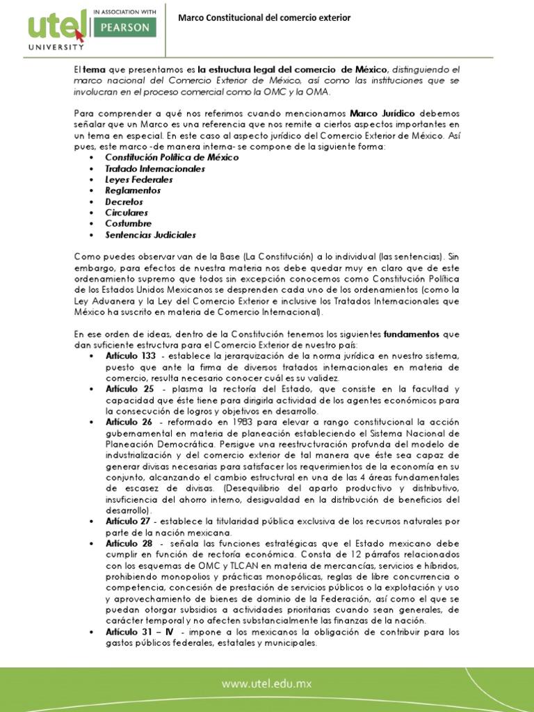 Marco Nacional Del Comercio Exterior De México Así Como Las