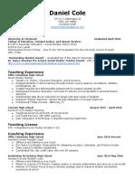 resume daniel cole1 docx  1