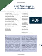 Efectos de La Luz UV Sobre Placas de Titanio Para La Adhesion Osteoblastica