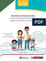 Cartilla de Bienvenida a la Comunidad Educativa Reinicio  de   clases