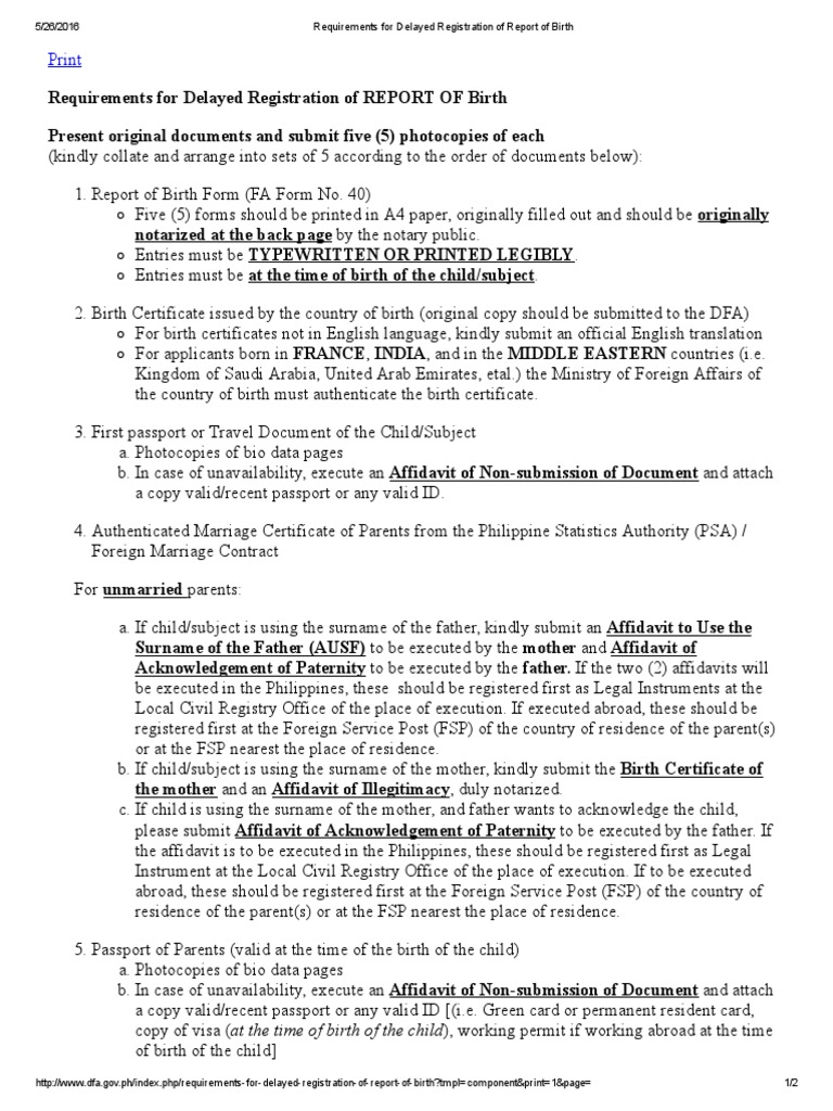 Requirements For Delayed Registration Of Report Of Birth Birth