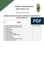 Cronograma de Actividades Para Las Elecciones de Los Representates Del Consejo Provincial de La Juventud de Huancavelica