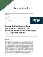 Di Meglio, La Participación Política Popular en La Ciudad de Buenos Aires Durante El Siglo XIX