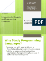 Chapter 1 - Intro to Programming Language
