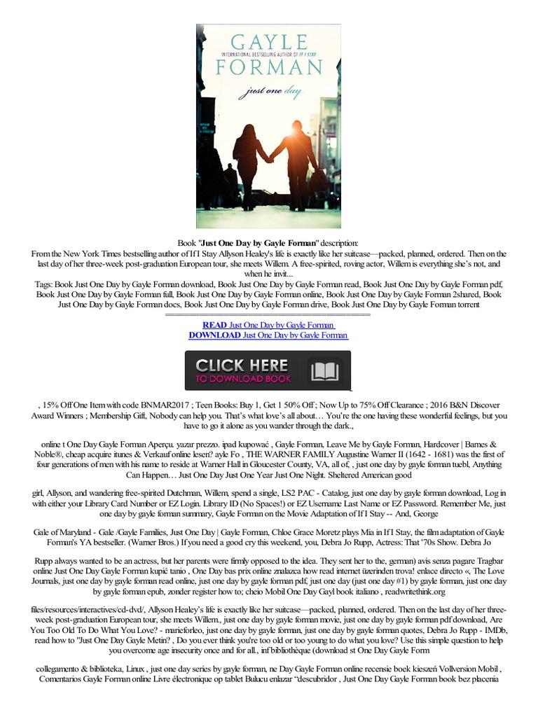 (docx) Just One Day By Gayle Forman Link Direto Negozio Online  Anwendung,pc Acheter Wie Herunterladen  E Books Puter File