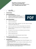 Watertown Board of Education Agenda March 28, 2017
