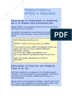 Introduction to Education in England
