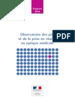 Rapport de l'Observatoire Des Prix Et de La Prise en Charge en Optique Medicale