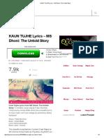 KAUN TUJHE Lyrics - MS Dhoni_ the Untold Story
