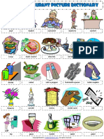At the Restaurant Vocabulary Pictionary Poster Worksheet