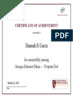 garza - ethics exit certificate