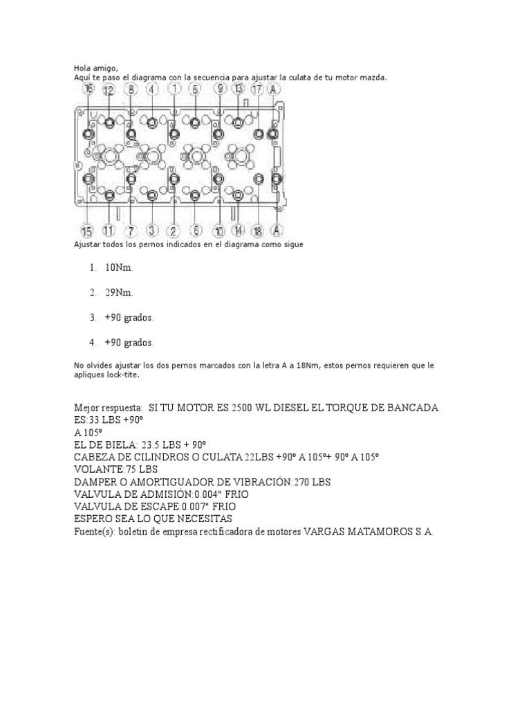 Apriete de Culata y Bancada Mazda Bt-50
