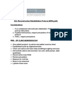 ACL Reconstruction BTB Rehabilitation Protocol 2009