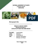 Imprimir Monograph 3 - PERUVIAN GROUND CHERRY - Conversation III - Sab. Dom. 3-7pm