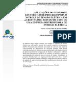 Aplicações Do Controle Estatístico de Processo Para o Controle de Tensão Elétrica Em Subestações Estudo de Caso