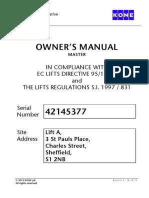 Owner Manual Kone | Elevator | Portable Document Format