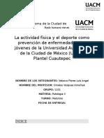 La actividad física y el deporte como prevención de enfermedad en los jóvenes de la Universidad Autónoma de la Ciudad de México