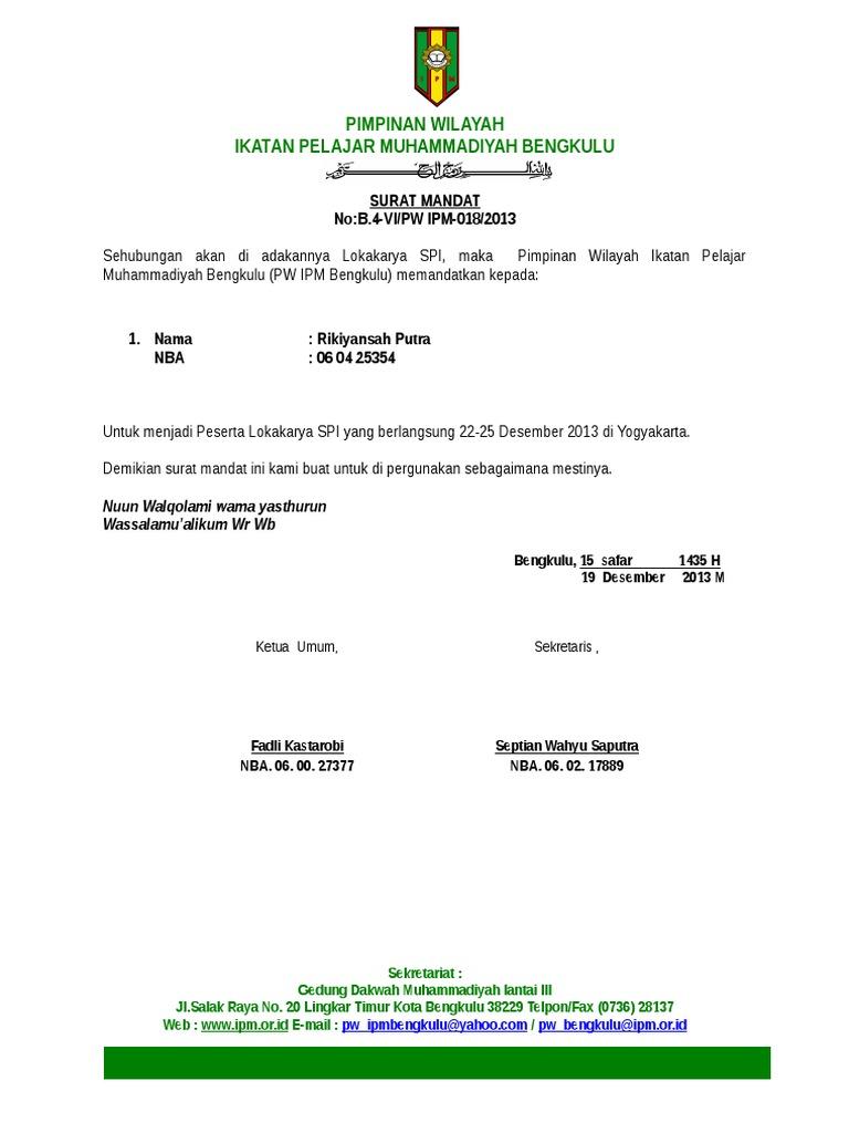 Contoh Surat Mandat Ipm Doc