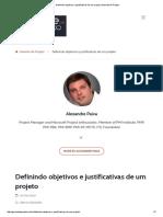 Gerente de Projeto - Definindo Objetivos e Justificativas de Um Projeto