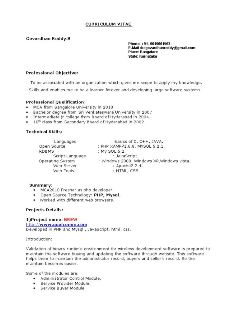 Curriculum Vitae   Php   Java Script