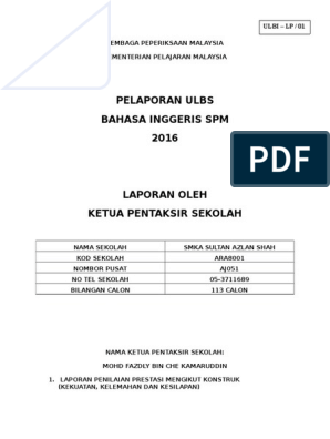 Laporan Ulbs Kps 2016 Vocabulary Grammar