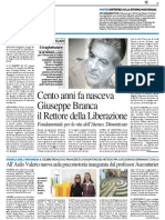 Cento anni fa nasceva Branca, il Rettore della Liberazione - Il Resto del Carlino del 23 marzo 2017