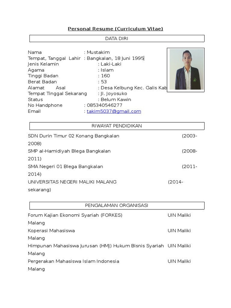 contoh resume pribadi beasiswa bank indonesia