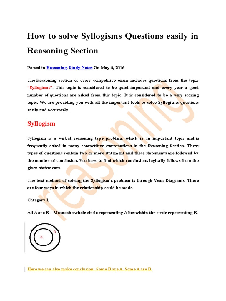 How to solve syllogisms questions easily in reasoning section how to solve syllogisms questions easily in reasoning section equations logic pooptronica