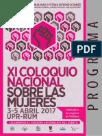 Programa XI Coloquio Nacional sobre las Mujeres