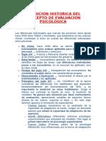 Evolución Histórica Del Concepto de Evaluación Psicológica