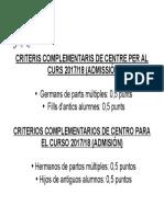 Criteris Complementaris de Centre