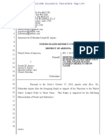 USA v Arpaio #32 Arpaio Reply in Support of Objection to USA Lodged OSC