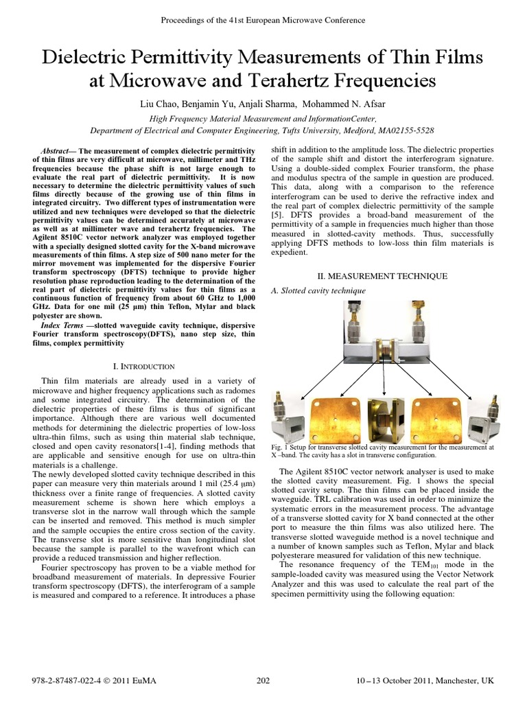 Dielectric Permittivity Measurements | Interferometry | Permittivity