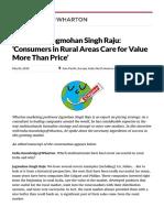 Wharton's Jagmohan Singh Raju_ 'Consumers in Rural Areas Care for Value More Than Price' - Knowledge@Wharton