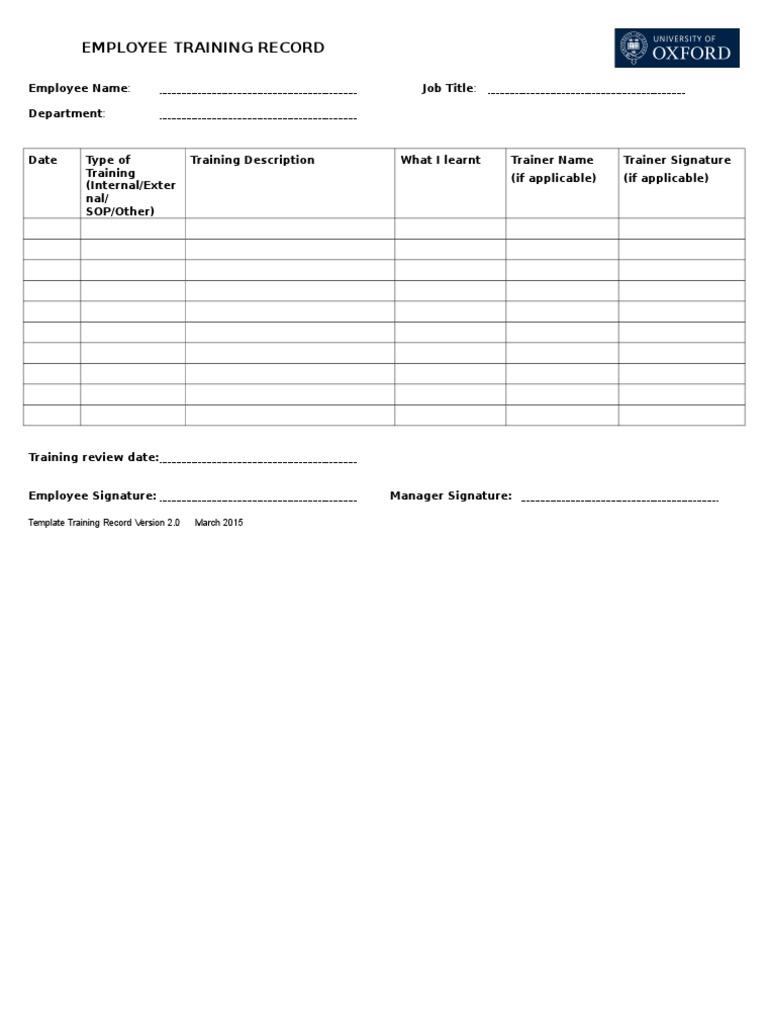 Template Training Record Version 2
