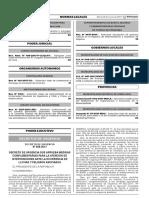 Decreto de Urgencia que aprueba medidas complementarias para la atención de intervenciones ante la ocurrencia de lluvias y peligros asociados