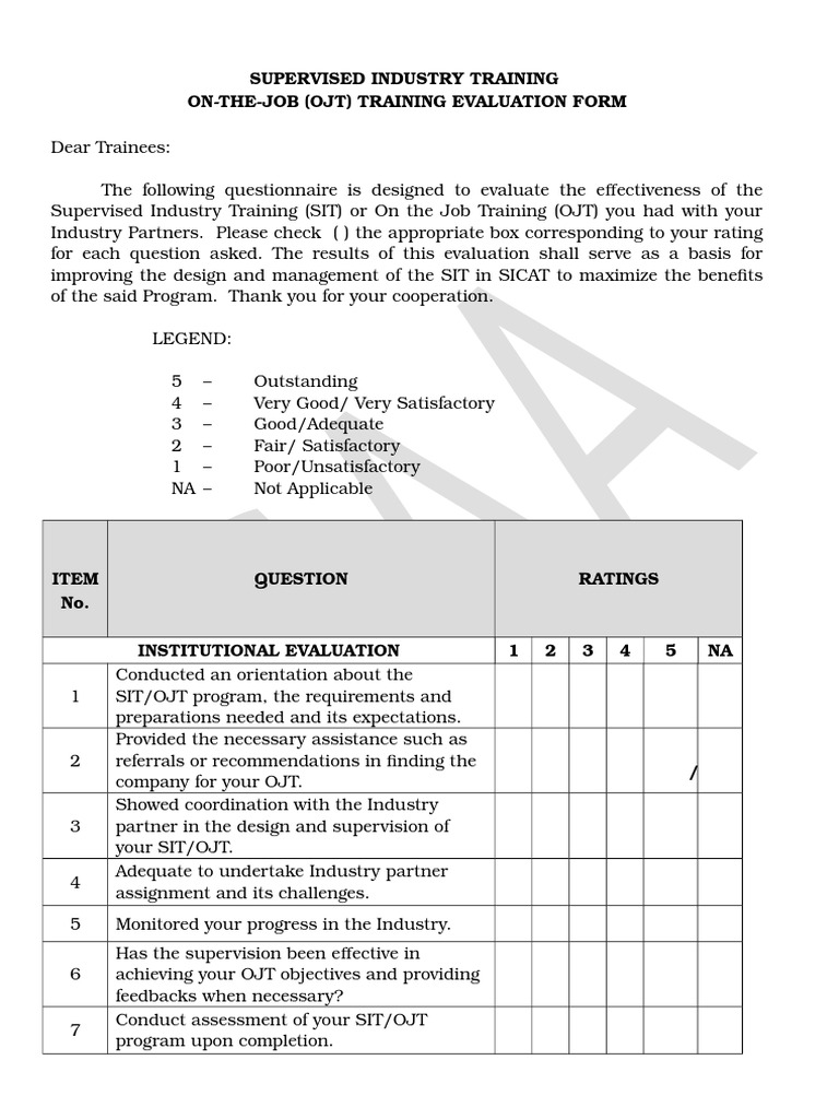 Ojt Evaluation Forms (Supervised Industry Training) Sample | Performance  Appraisal | Evaluation  Evaluation Forms For Trainers